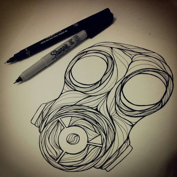 Gas mask drawing art illustration | Gas Mask Obsession ...