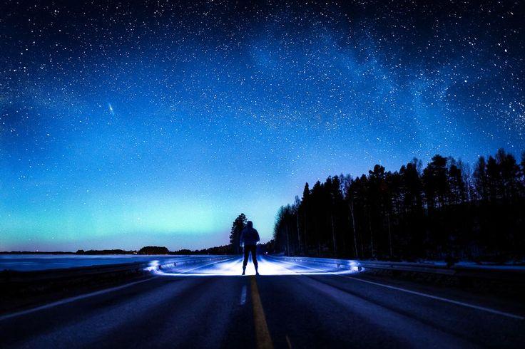 """""""Ihminen seisoo tiellä tähtitaivaan alla. - """"Million Miles"""" Kuva/Photo: ©Salla Seeslahti"""" (quote) via yle.fi"""