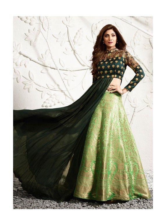 Shinning Exotic Dark Green and Mint Green Combination Shilpa Shetty Lehenga Kameez