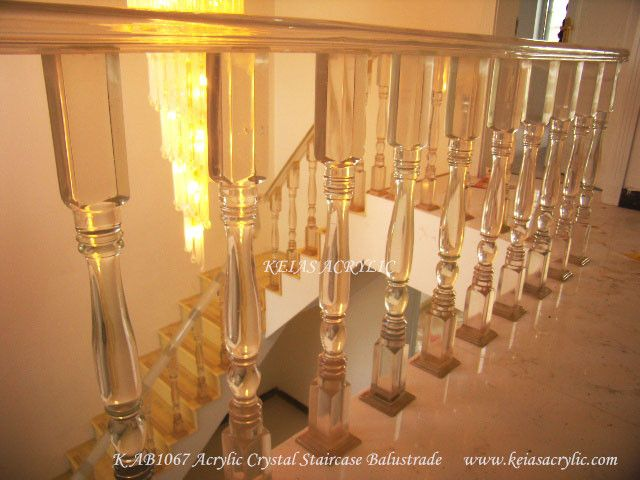 Acrylic Crystal Transparent stair railing for villa project