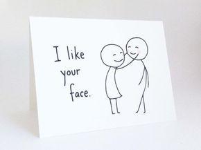 Tarjeta amor lindo novio / / tarjeta de aniversario para el marido / / romántica tarjeta de cumpleaños / / Funny tarjeta de día de San Valentín / / me gusta tu cara
