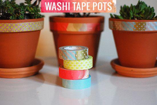 washi tape pots diy