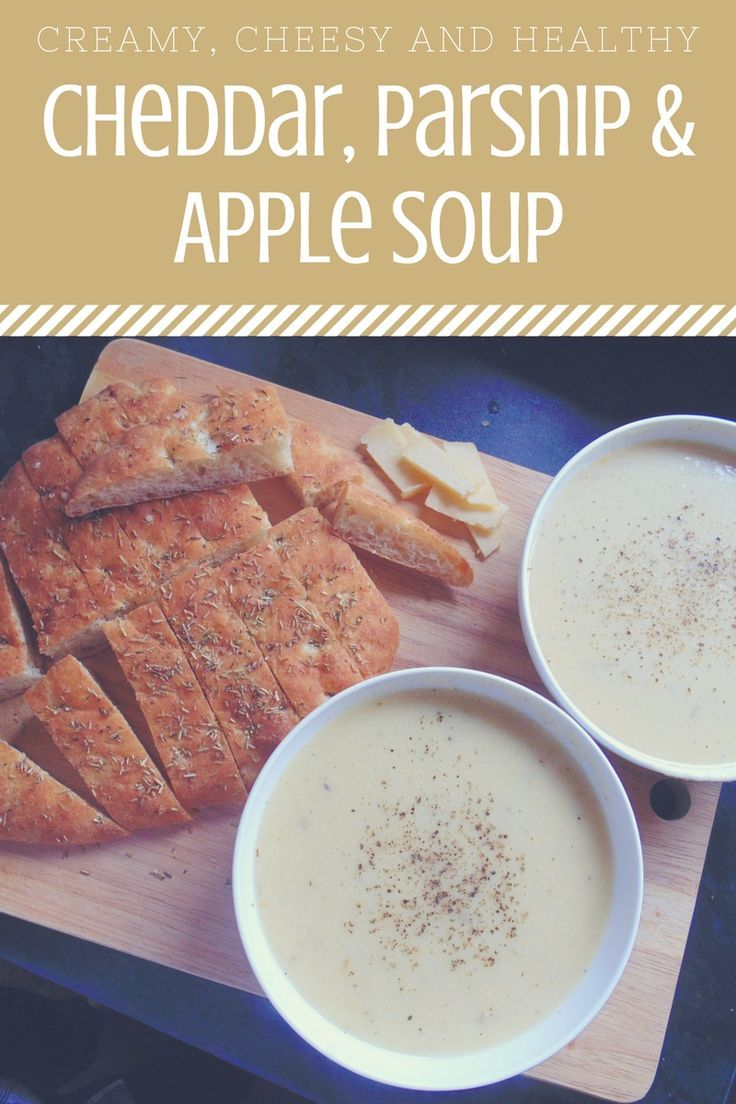 Cheddar, Parsnip & Apple Soup; an unusual but deliciously creamy soup full of sweet parsnip and mature cheddar flavour!