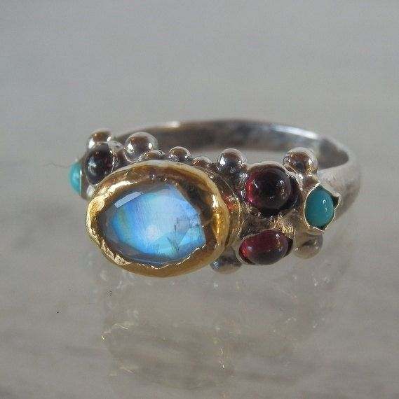 Moonstone Ring Unique Engagement Ring 24K Solid by yifatbareket