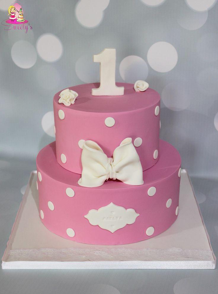 Baby girl 1 year fondant cake • pink baby girl fondant cake • gateau anniversaire bébé • pièce montée pâte à sucre rose • cake decorating • cake design • l'atelier de roxane