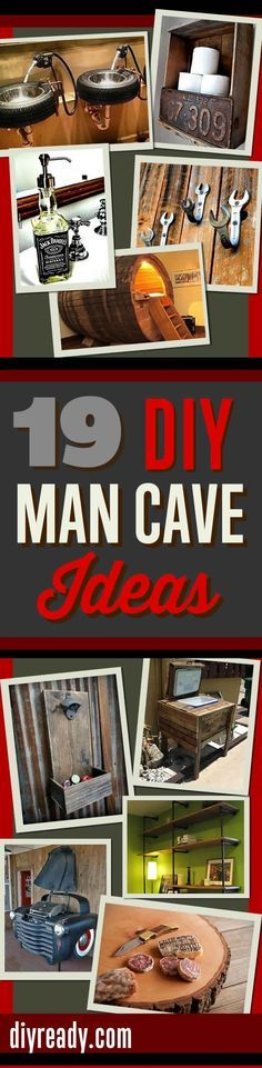 DIY Projects for Men   Man Cave Ideas and Mancave Furniture DIY http://diyready.com/man-cave-ideas-19-diy-decor-and-furniture-projects/: