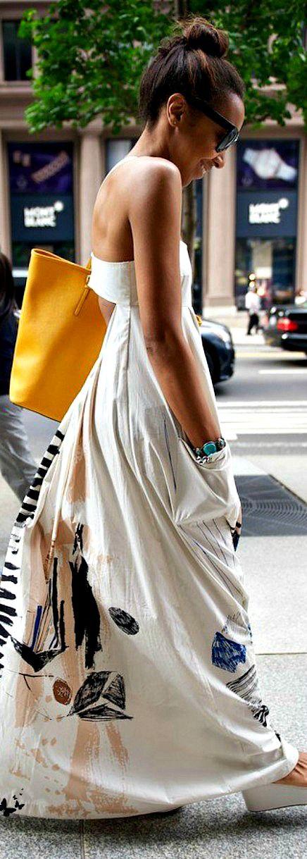 street style ~ maxi dress w / pockets