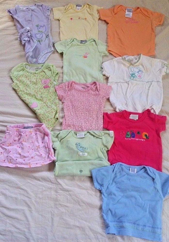 d6c9c1bd65c8 Lot Of 11 Carter s Baby Girl Clothes Bodysuits Skirt Hat Size 0-3 Months  Summer  Carters  Everyday