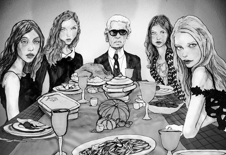 Dinner with Karl? Illustration by Danny Roberts (get to know him on our blog http://blog.bebe.com/2012/10/29/art-smart-fashion-illustrator-danny-roberts-talks-style-inspiration/)