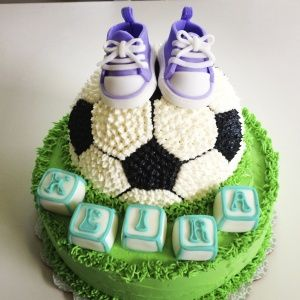 Soccer Baby Shower Cake | Amy's Sweet Cakes