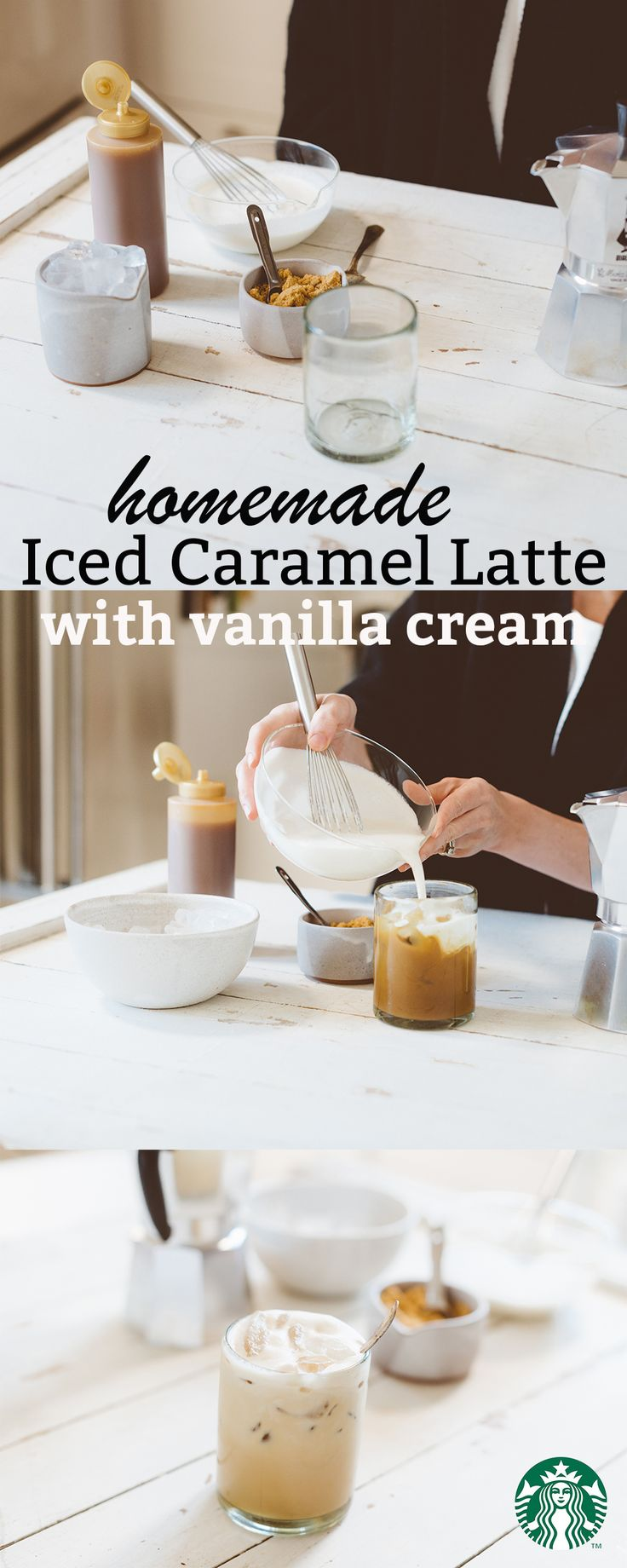 A subtly sweet iced latte topped with silky vanilla cream. Iced Caramel Latte Recipe: Add caramel sauce, brown sugar and brewed espresso to a large glass. Mix together until combined, then add ice. Slowly top off with about ½ cup of the vanilla cream. Serve and enjoy! Visit 1912 Pike for the full recipe.