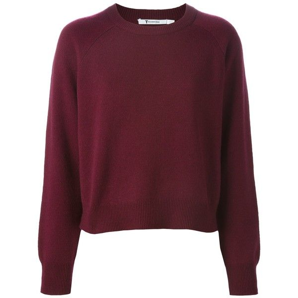 ニット・セーター T BY ALEXANDER WANG GARNET CASHMERE-WOOL BLEND RIBBED CREW... found on Polyvore featuring tops, sweaters, jumpers, shirts, red shirt, shirts & tops, burgundy shirt, red cashmere sweater and cashmere tops