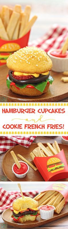 Hamburger Cupcakes and Cookie French Fries - the cutest hamburgers you ever did see! These dessert burgers and fries are adorable and delicious! | From OhNuts.com
