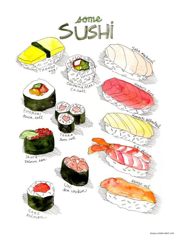 """What's in a roll? Maki, short for makizushi, means """"rolled sushi"""" and includes Sake, Uni, Ikura, Tekka, Futomaki, California, among others. Nigiri means """"hand-pressed sushi"""" and includes Anago, Ebi, Hamachi, Maguro, Saba, and Tamago, among others. This hand-drawn array of sushi includes names and some main ingredients, so you don't just seafood. The print is a 9x12 digital reproduction of an original watercolor + pen and ink illustration. It is printed on 100lb EcoSilk Archival Paper with…"""
