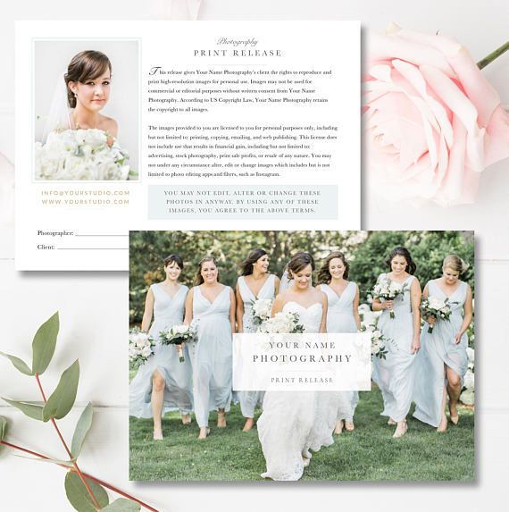 INSTANT DOWNLOAD! Photography Print Release Template, Photoshop Marketing Templates, Copyright Form for Wedding Photographers