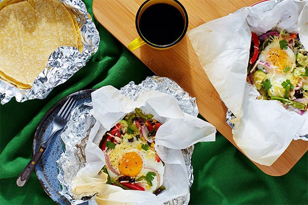 Breakfast Taco Hobo Packs with Black Beans, Zucchini, and Corn  for Campfire Cooking while Camping