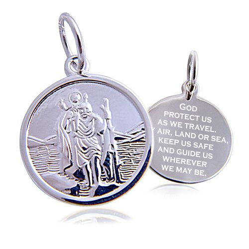 Sterling Silver St. Christopher Round Pendant with 20 inch chain