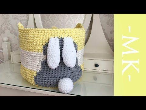 Вяжем круглую корзинку из трикотажной пряжи | большая детская корзина для игрушек с зайчиком - YouTube