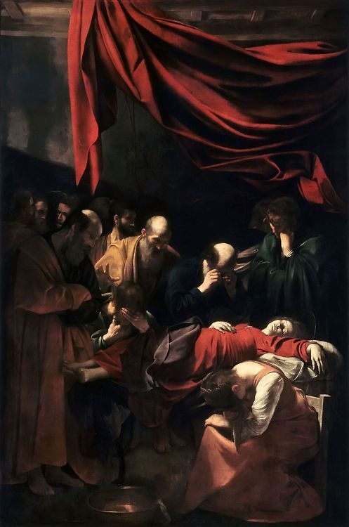 Caravaggio - Death of the Virgin 1606 - The model Caravaggio used for central figure of the virgin was actually a dead prostitute dragged up from Rome's river Tiber. It caused great controversy at the time, but none could deny the genius of the young artist. I used the central figure myself for one of my illustrations.