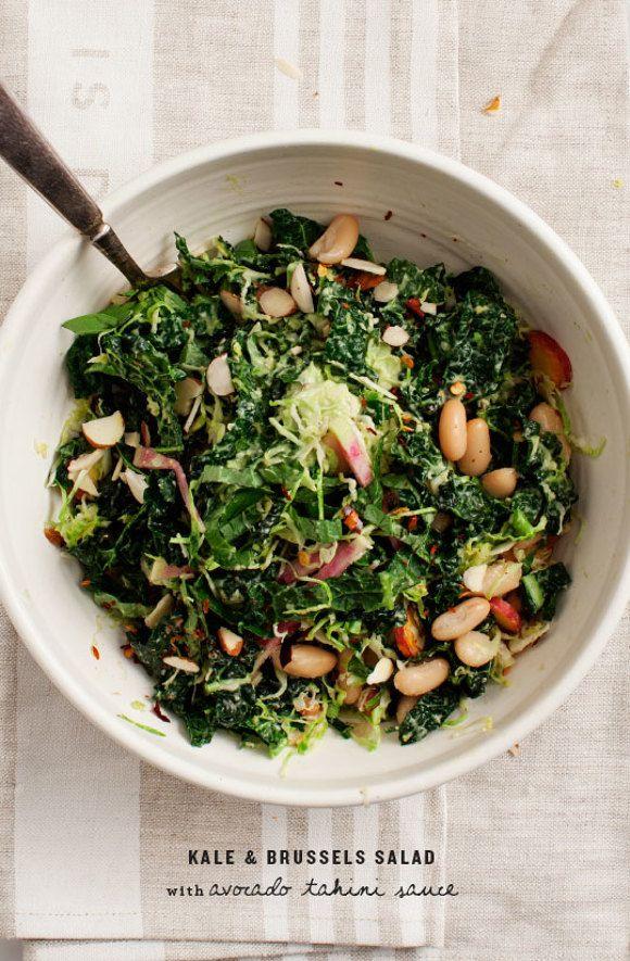 Kale Salad with Avocado Tahini Sauce / loveandlemons.com