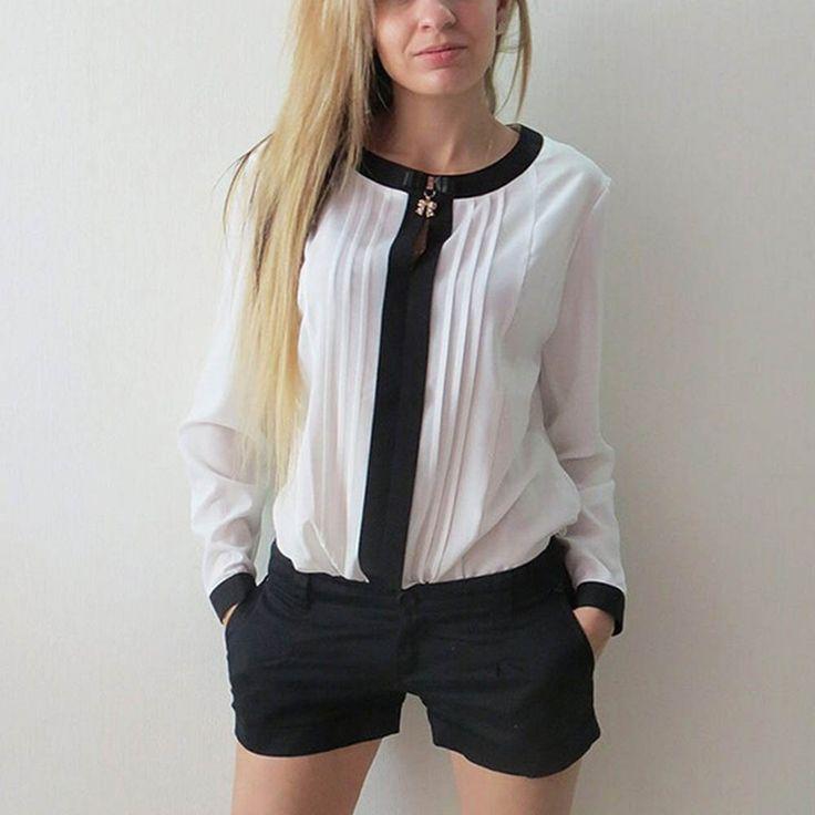 Womens Long Sleeve Shirt Chiffon Pleated Patchwork Office Blouses Tops Hot *** Podrobnuyu informatsiyu mozhno nayti, nazhav na izobrazheniye.