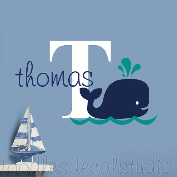 Whale Wall Decal for boys nursery - Hampton Whale Decals - Whale wall sticker - Nautical Room Decor - Bathroom Decal - Monogram Whale decal