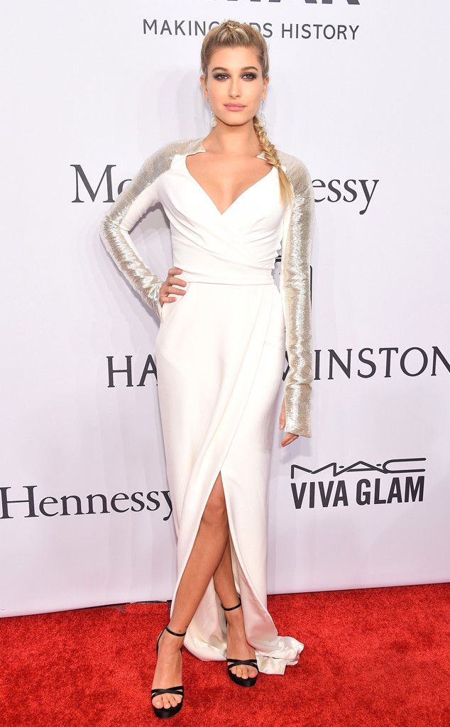 Hailey Baldwin from amfAR Gala 2016 Red Carpet Arrivals  Stephen Baldwin's famous daughter wows in white while posing in her Chopard earrings.