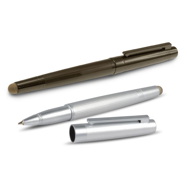 Premium brass ball pen with an electroplated finish, a magnetic closure cap and a highly conductive metal fibre mesh stylus for use with touch screens. It has a metal Black ink Extra Large Volume refill with 2800 metres of ink and the barrel laser engraves to a mirror finish.