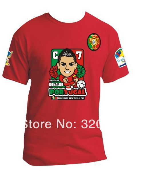 this is beautiful,soft short sleeve medium red cristiano ronaldo print in the chest t-shirt football soccer. t-shirt football soccer has crew neck. the t-shirt football soccer costs eighty-nine pesos