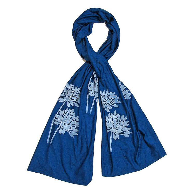 Wind Sparrow Hand Printed White Ink Botanical Fashion Scarf -Cobalt Blue Allium