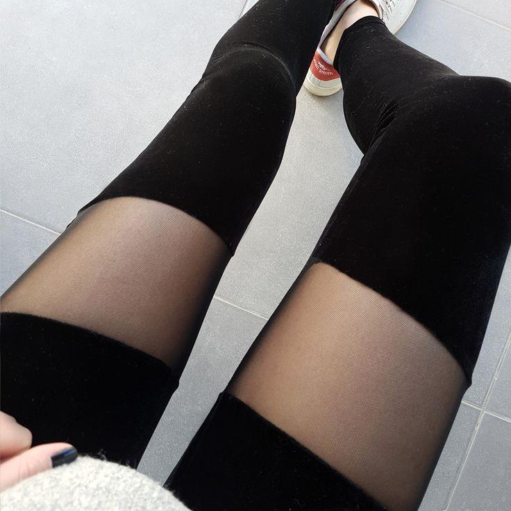 Velvet leggings with sheer panel