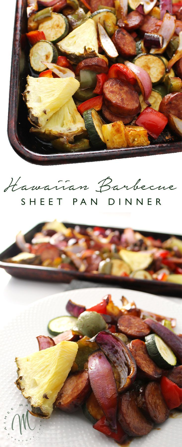 This simple recipe for Hawaiian Sheet Pan Dinner is perfect for busy weeknights or those evenings when you're tired and don't know what to cook.