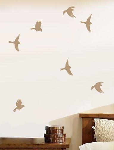 Stencil Garden Birds - Reusable Stencil for Walls, Crafts, Kids Rooms - DIY decor. $14.95, via Etsy.
