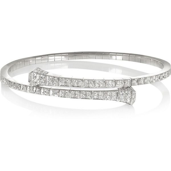 Gucci 18-karat white gold diamond bracelet ($13,200) ❤ liked on Polyvore featuring jewelry, bracelets, accessories, pulseiras, rings, silver, 18k gold bangle, diamond bracelet, sparkle bracelet and white gold bangle