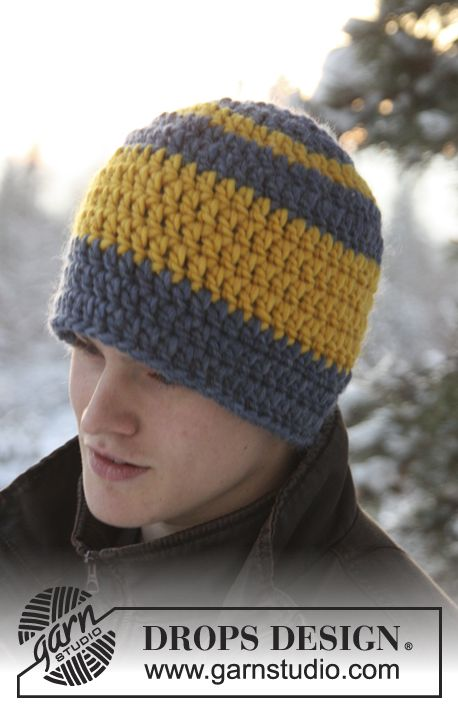 """Crochet DROPS hat in """"Eskimo"""". How about in School or NFL colors for the guy in your life?"""