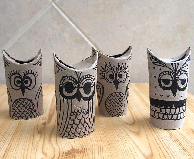 Little owls from toilet paper rolls.