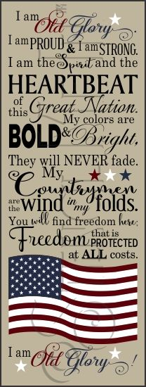 I Am Old Glory American Flag Typography Stencil | Stencil Me In