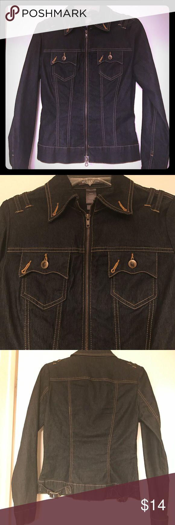 Denim Jacket Dark Denim Zip Up Jean Jacket. Bisou Bisou Jackets & Coats Jean Jackets