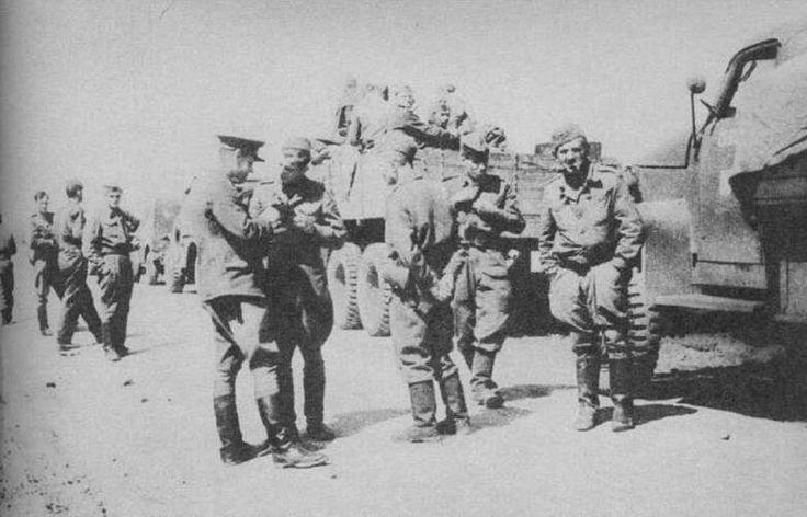 Czechoslovak soldiers on their transport near Dukla Pass