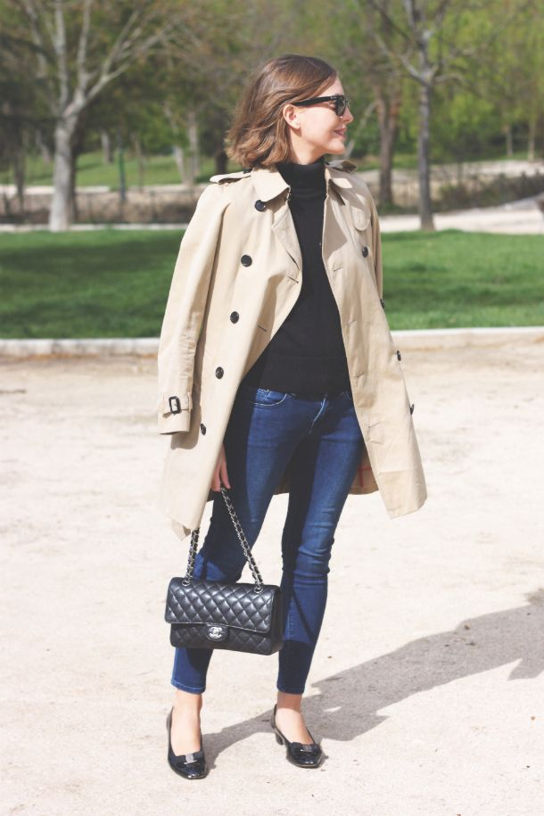 Burberry Trench, Petit Bateau turtleneck, The Kooples jeans, Salvatore Ferragamo vara flats and Chanel classic flap