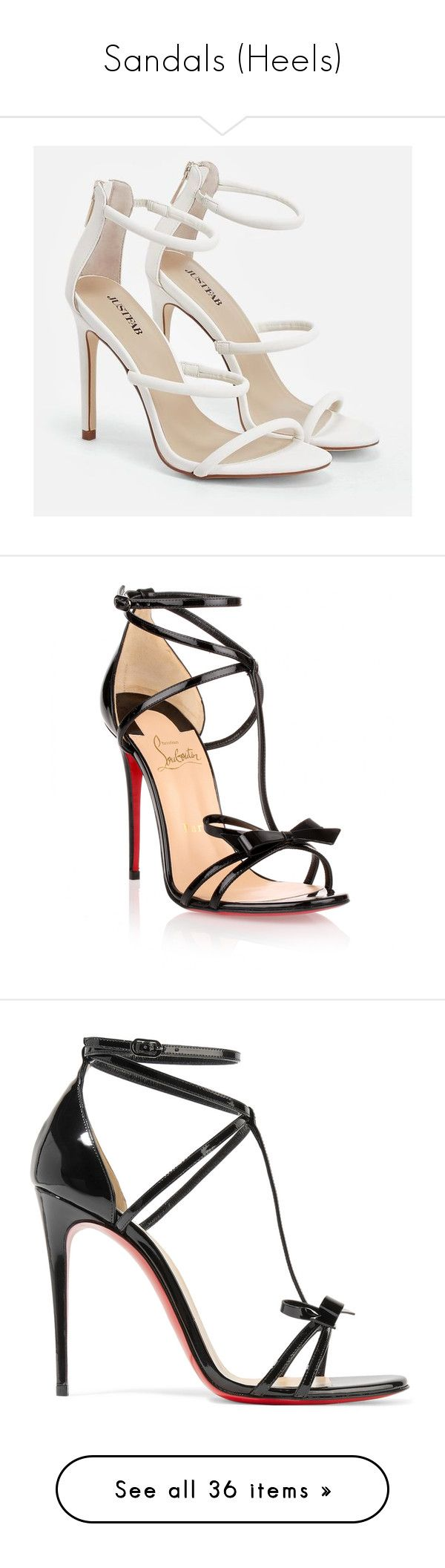 """Sandals (Heels)"" by kianajade0823 ❤ liked on Polyvore featuring shoes, sandals, white, strappy high heel sandals, metallic sandals, platform sandals, platform heel sandals, strappy heeled sandals, chaussures and louboutin"
