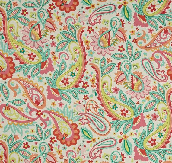 Girl's Paisley Curtains Pink Green Window by asmushomeinteriors