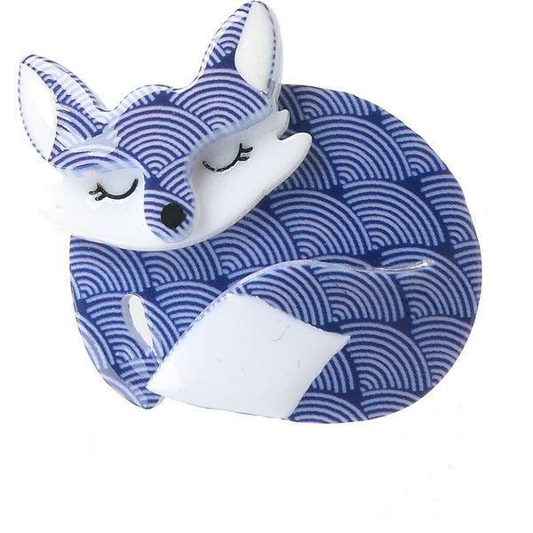 Erstwilder Blue & White Scales Sacha Sleeping Fox Resin Brooch Pin ($24) ❤ liked on Polyvore featuring jewelry, brooches, blue, charm jewelry, pin jewelry, resin charms, pin brooch and white jewelry