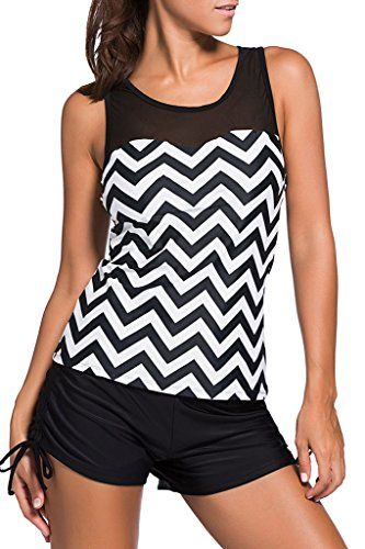 HOTAPEI Swimsuits for Women Two Pieces Tankini Swimsuits Black White Zigzag Print Large Special Offer: $21.99 133 Reviews Enhance your swim attire with this women's mesh racerback two-piece swimsuit. The fashion Print Mesh Splice Tankini Top offers you style and comfort. This...