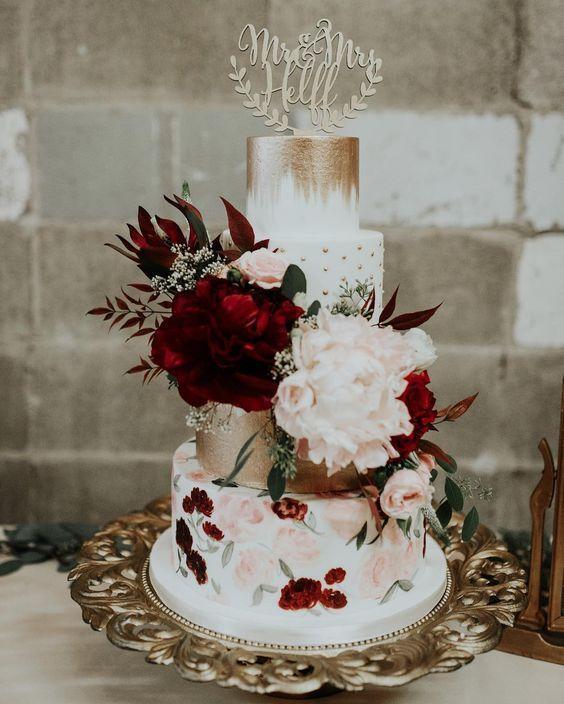 25 wunderschöne handbemalte florale Hochzeitstorten #Hochzeitstorte #Handbemalt…