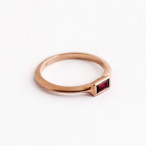 Unique ruby baguette engagement rose gold ring ,String 14k 18k red gold engagement ring, rectangle solitaire ring, thin stack ring, Berman