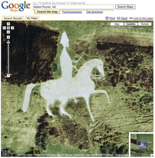 Google Earth: Osmington White Horse, outside Sutton Poyntz, UK. Historic figure.