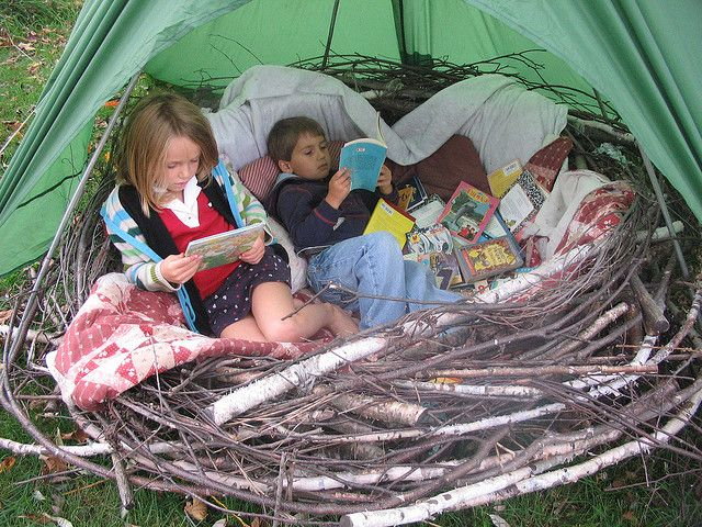 """Cozy Nest; put in classroom under """"poet-tree,"""" make with free grape vines (from vineyard)"""