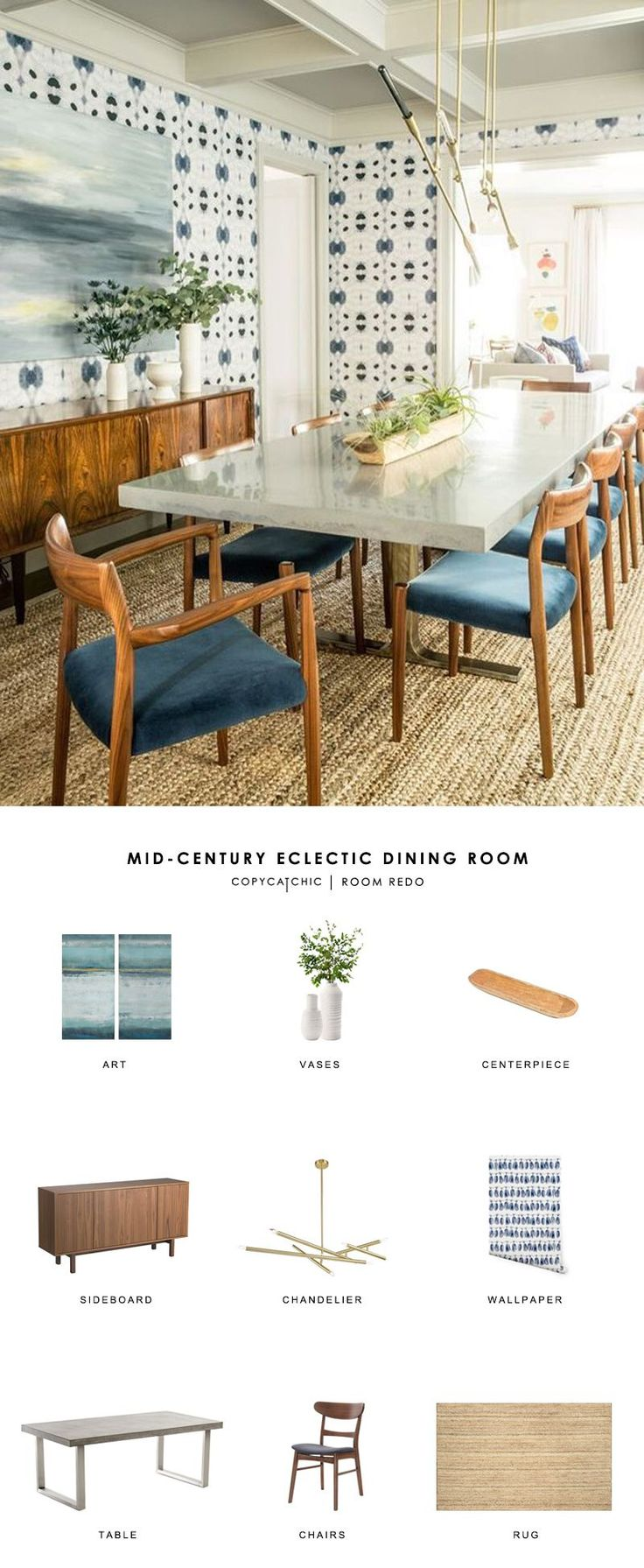 Copy Cat Chic Room Redo | Mid-Century Eclectic Dining Room
