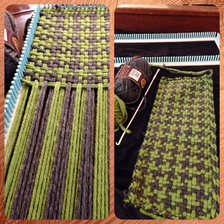Weaving a houndstooth scarf! Acrylic and wool blend on the Martha Stewart knit and weave loom kit